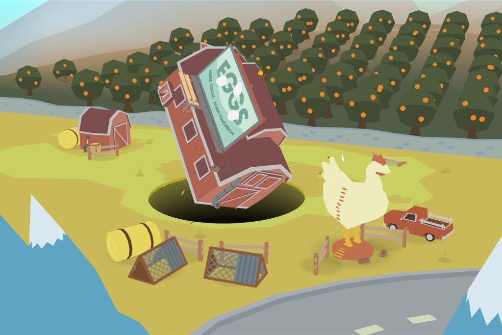 In «Donut County» steuern die Spieler ein Loch, das immer größer wird, je mehr hineinfällt.