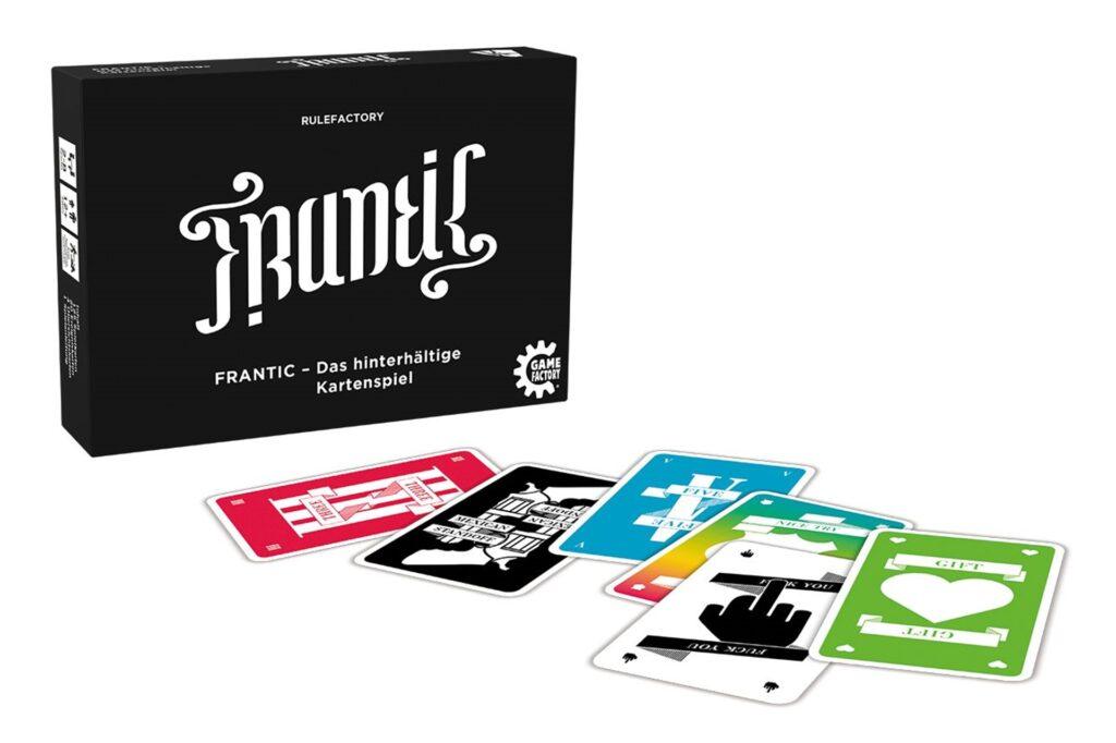 Das Spiel «Frantic» erinnert an «Uno» - aber mit viel mehr Ärger-Faktor. Bei zufällig gezogenen Ereigniskarten muss man schon mal so viele Karten ziehen, wie der Mitspieler mit den meisten auf der Hand hat.